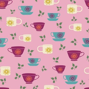 Teacups on a Pink Background Pattern