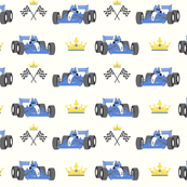 Race cars with crown - white background
