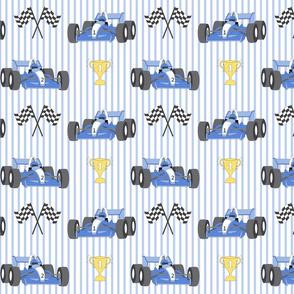 Race cars on stripes