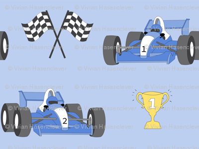 Race cars with trophy
