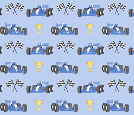 Race cars with trophy fabric by vivdesign on Spoonflower - custom fabric