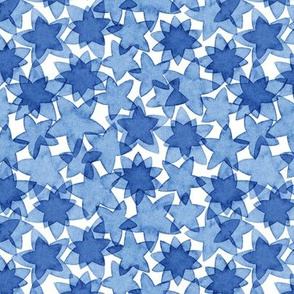 Watercolor stars in blue