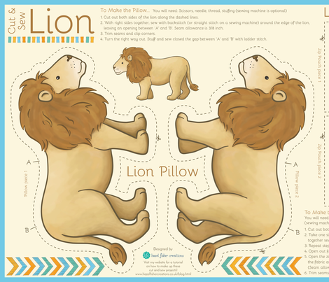 Cut And Sew Lion - pillow and pouch fabric by hazelfishercreations on Spoonflower - custom fabric