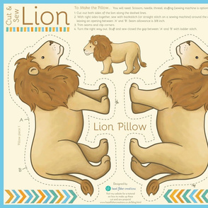 Cut And Sew Lion - pillow and pouch