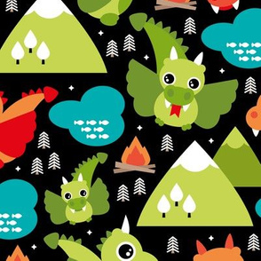 Cute baby dragon fantasy woodland for kids orange green mountains illustration print