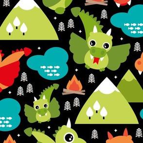 Cute baby dragon fantasy woodland for kids orange green mountains illustration print