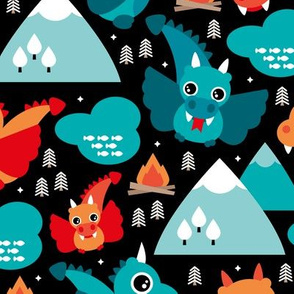 Cute baby dragon fantasy woodland for boys blue orange mountains illustration print