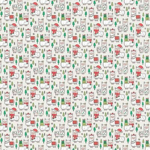 Holidays Christmas llamas on Cloud Grey Tiny Small