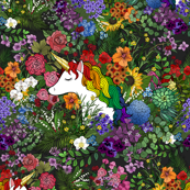 Unicorn in a Floral Rainbow Garden