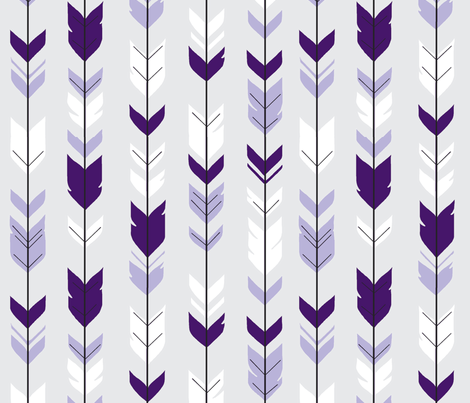 arrow Feathers -purples on silver  fabric by sugarpinedesign on Spoonflower - custom fabric
