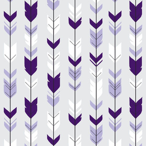 arrow Feathers -purples on silver