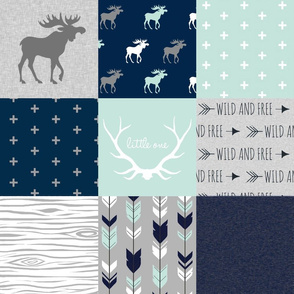 Woodland Moose Wholecloth - Mint, Navy and grey