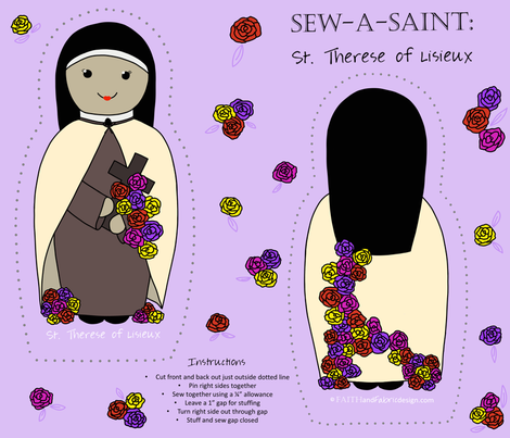 Sew a Saint: St. Therese of Lisieux fabric by faithandfabric on Spoonflower - custom fabric