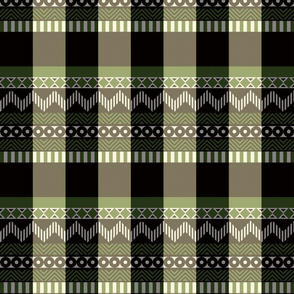 Ornamental zigzag stripe #2 -  stripe - herringbone pattern - olive,black,cream and white