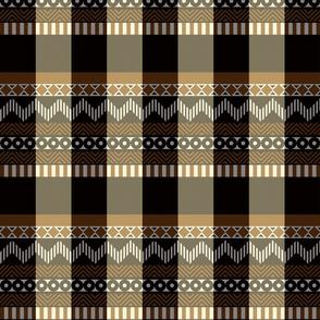 Ornamental zigzag stripe #2 -  stripe - herringbone pattern - brown, black, cream and white