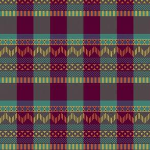 Ornamental zigzag stripe #2 -  stripe - herringbone pattern - Tyrian purple, gold, teal