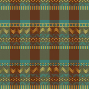 Ornamental zigzag stripe #2 -  stripe - herringbone pattern - cassia, brown, yellow and teal