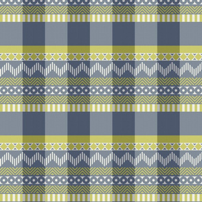 Ornamental zigzag stripe #2 -  stripe - herringbone pattern - wasabi, navy and white