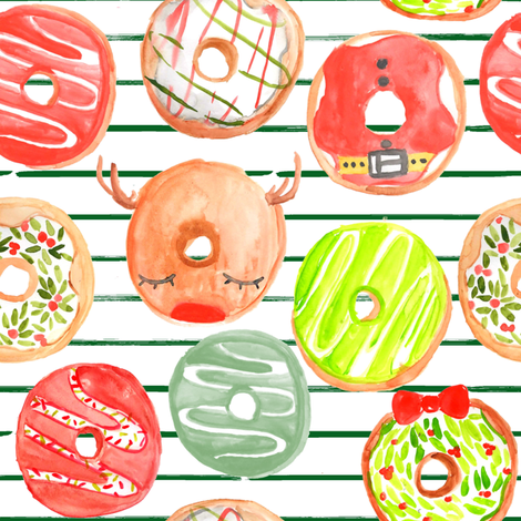 "8"" Christmas Donuts // Green and White Stripes fabric by hipkiddesigns on Spoonflower - custom fabric"