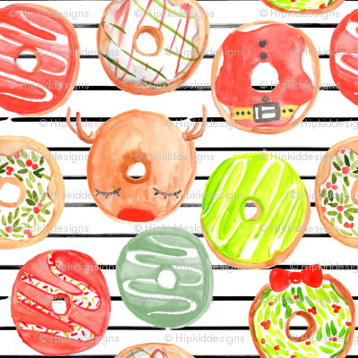 """4"""" Christmas Donuts // Black and White Stripes"""