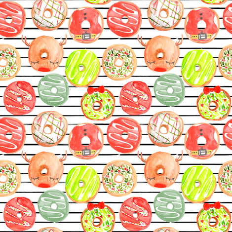 """4"""" Christmas Donuts // Black and White Stripes fabric by hipkiddesigns on Spoonflower - custom fabric"""