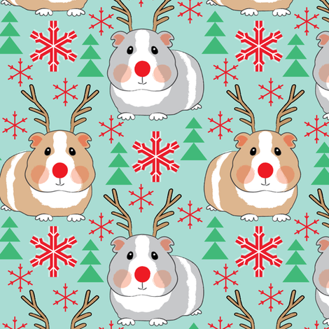 guinea-pig-reindeer-on-teal fabric by lilcubby on Spoonflower - custom fabric