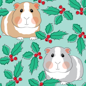guinea-pigs-with-holly-on-teal