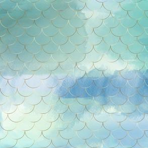 gold mermaid scales on blues aquas