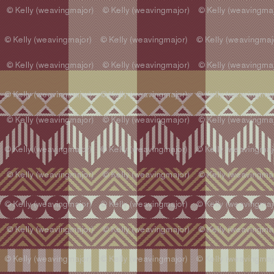 Ornamental zigzag stripe #2 - herringbone pattern - red, gold, grey, brown