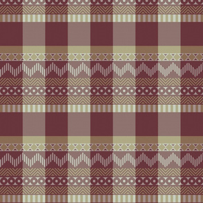 Ornamental zigzag stripe #2 - herringbone pattern - red, gold, grey, brown