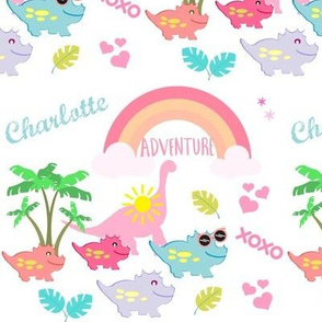 dino7 - tropical adventure-pink-PERSONALIZED for Charlotte