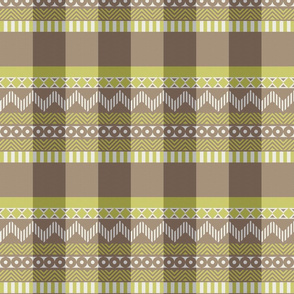Ornamental zigzag stripe #2 -  stripe - herringbone pattern - wasabi, brown, grey and white