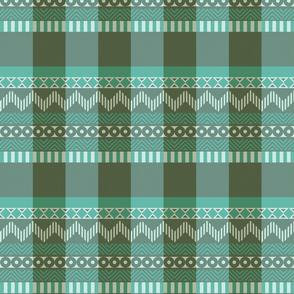 Ornamental zigzag stripe #2 -  stripe - herringbone pattern - teal, olive, aqua, white