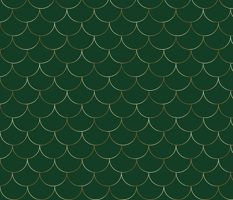 gold scales on evergreen hunter green fabric by jenlats on Spoonflower - custom fabric