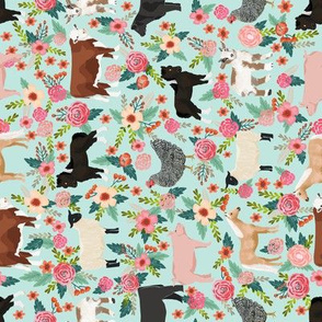 Farm animals cow sheep goat chicken floral fabric mint