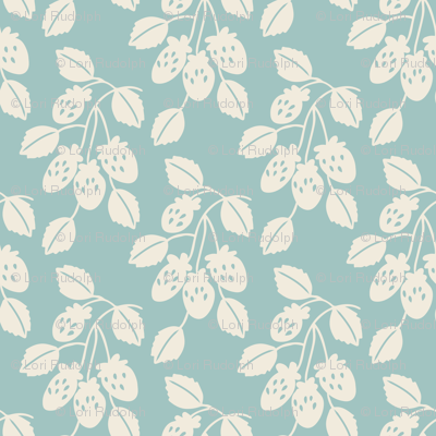 Solid berry branches on light blue