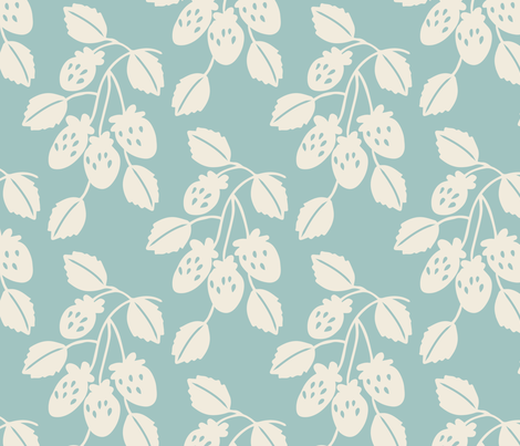 Solid berry branches on light blue fabric by retrorudolphs on Spoonflower - custom fabric