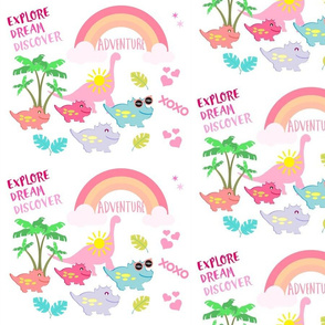 dino LARGE 105HD - tropical adventure-pink