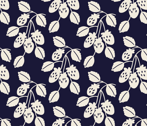 Solid berry branches on navy fabric by retrorudolphs on Spoonflower - custom fabric