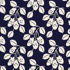 Solid berry branches on navy
