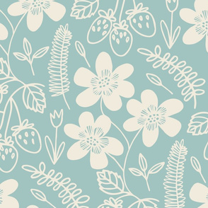 Flowers and berries - cream on light blue