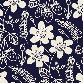 Flowers and berries - cream on navy