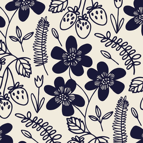 Flowers and berries - navy
