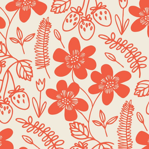 Flowers and berries- Redwork