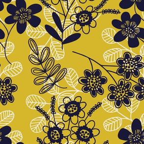 Flowers and fronds on gold