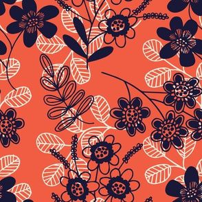 Flowers and fronds on red