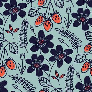 Summer berries on light blue