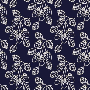 Berry branches on navy