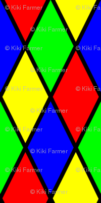Bright Primary Color Harlequin Windowpane Diamond Pattern