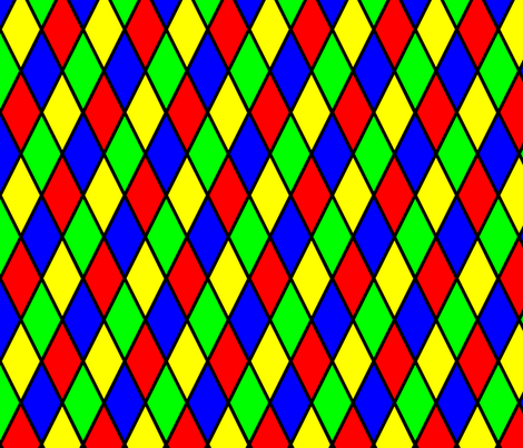 Bright Primary Color Harlequin Windowpane Diamond Pattern fabric by paper_and_frill on Spoonflower - custom fabric